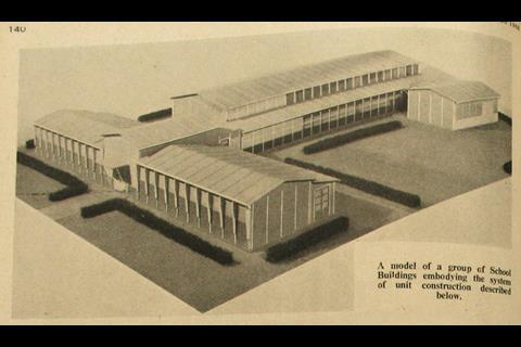 Model of school buildings featured in The Builder